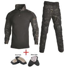 цена на Military Camouflage Hunting Clothes With Detachable Knee And Elbow Pads Tactical Army Uniform Set Men Airsoft Paintball Suits