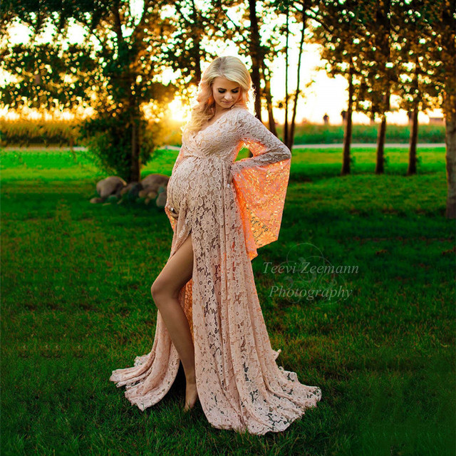Maternity robe bishop sleeves Maternity gown photo shoot Wrap around maternity boho dress Cottagecore pregnancy outfit Expecting mom gift
