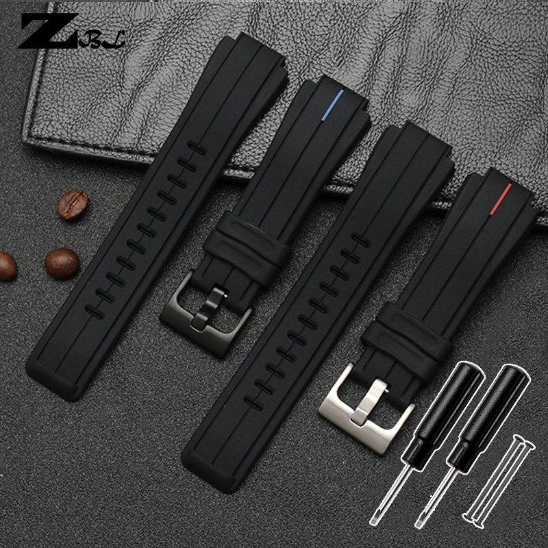 Silicone rubber watchband for timex Watch strap T2N720 T2N721 TW2T76300 wristband bracelet waterproof band Convex interface 16mm