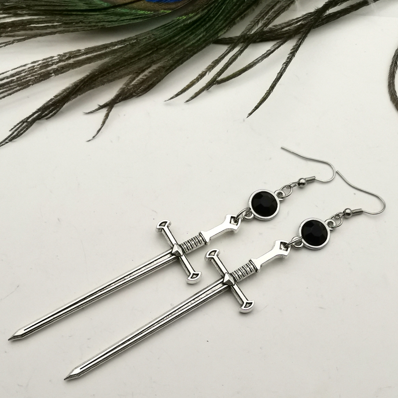 Black Crystal Sword Earrings, Extra Long Shoulder Shoulder Gothic Earrings Witch Goddess Gothic Dangle Earrings