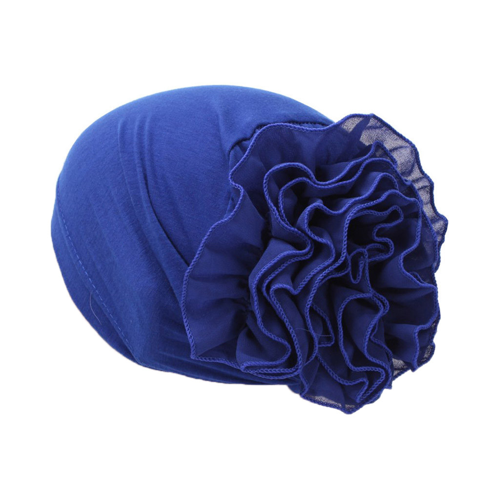 Women Flower Muslim Ruffle Cancer Chemo Hat Flower Muslim Beanie Scarf Turban Head Wrap Cap High Quality Knitted Hats A415
