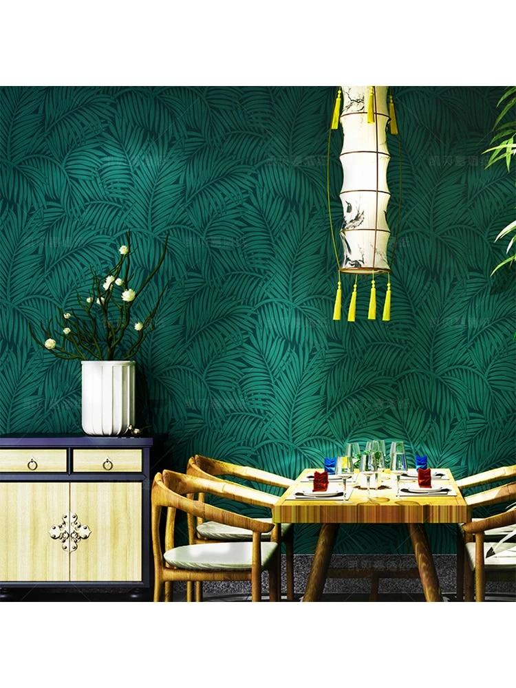 Southeast Asian American Palm Leaves Dark Green Bedroom Wallpaper 3d European Peacock Blue Upscale Living Room Tv Back Wall Roll Wallpapers Aliexpress