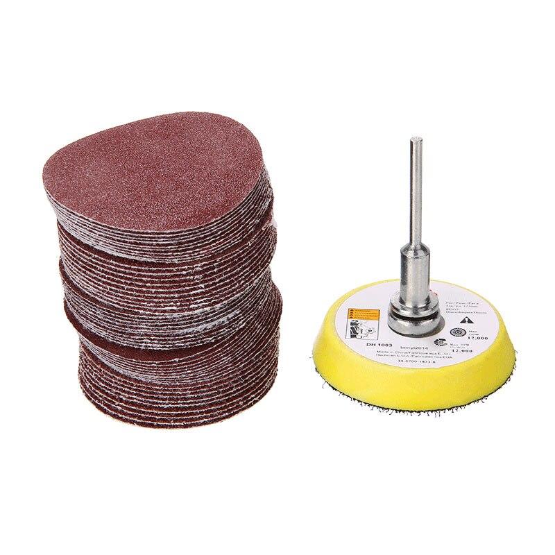 50pcs/set 50mm Sanding Disc Pads 60/80/120/150/180Grits Sandpaper Discs Sheet 1/4