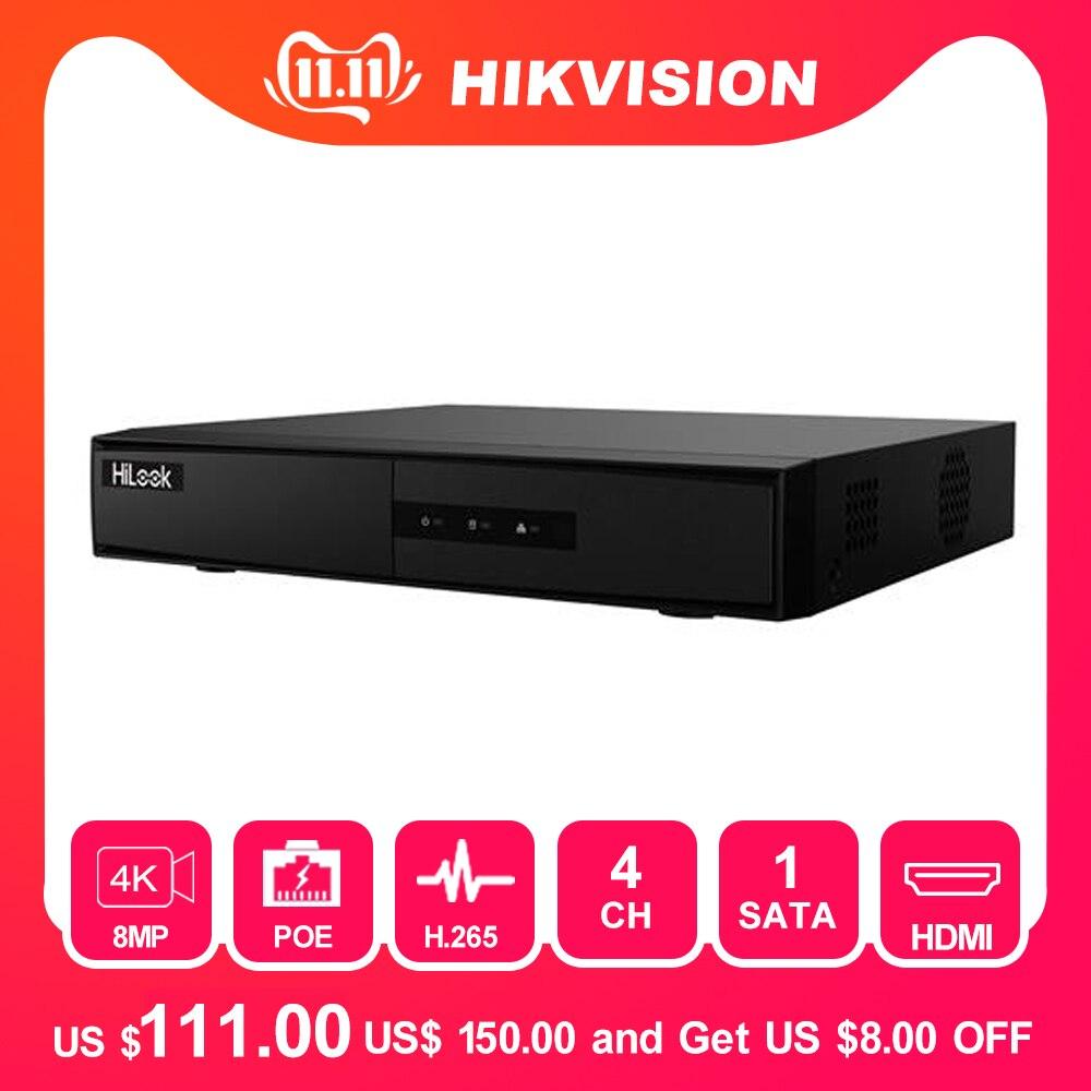 Système de vidéosurveillance HiLook Onvif 4CH POE NVR-104MH-C/4 P Hikvision Plug & Play 4 canaux 4K PoE NVR 1 SATA détection VCA