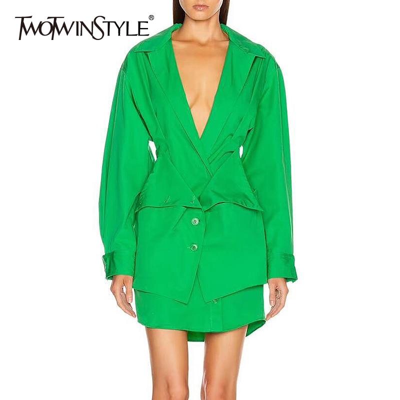 TWOTWINSTYLE Casual Women Dress V Neck Lantern Long Sleeve High Waist Mini Slim Print Dresses Female Clothing 2020 Spring Tide