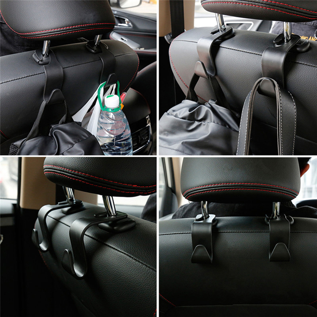 1/2Pcs Universal Car Seat Back Hook Car Accessories Interior Portable Hanger Holder Storage for Car Bag Purse Cloth Decoration 4