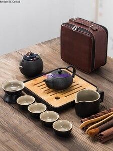Image 3 - Японский черный керамический чайный набор кунг фу, портативный дорожный чайный набор, набор из 13 предметов, один чайник из четырех чашек быстрой чашки для пассажиров
