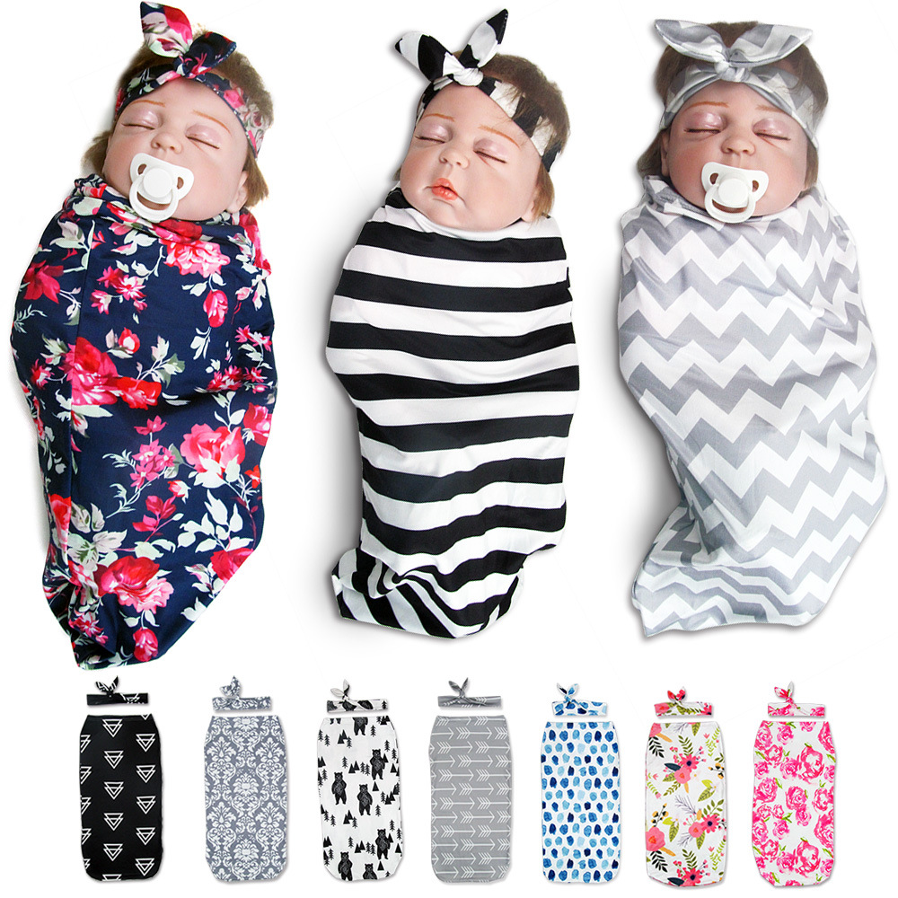 Newborn Baby Swaddle Wrap Parisarc Soft Infant Baby Products Blanket & Swaddling Wrap Blanket Sleepsack With Headbands BCS0029