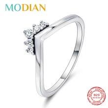 Modian 2020 뜨거운 100% 925 스털링 실버 반짝 이는 쌓을 수있는 손가락 반지 여성을위한 패션 원래 크리스마스 선물 쥬얼리