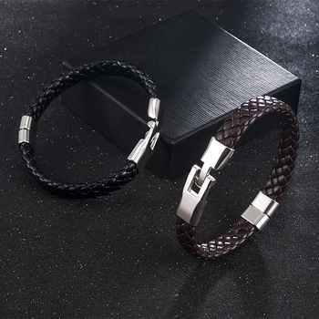 High Quality Men Women Leather Wrap Wristband Cuff Magnetic Clasp Bracelet Stainless Steel Buckle Clasp Bracelets Jewelry 4