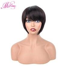 MS любовь короткие парики из человеческих волос с челкой прямые бразильские парики для женщин 6 дюймов натуральный черный цвет не Реми