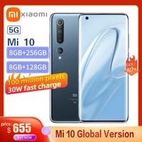 Xiaomi Mi 10 5G Smartphone Global Version 8GB+256GB Snapdragon 865 X55 Octa Core 108MP Pixel 4780mAh With NFC 90HZ Curved Screen 1