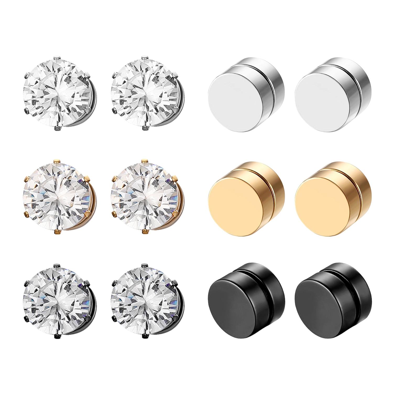 BONISKISS Stainless Steel Stud Earrings for Men Women Unisex Round Magnet Earrings Without Piercing fashion jewelry 2020