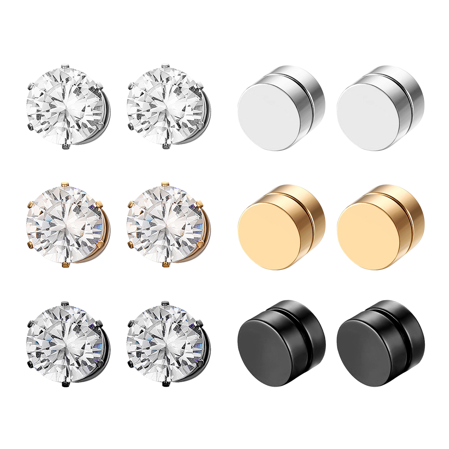 BONISKISS Stainless Steel Stud <font><b>Earrings</b></font> <font><b>for</b></font> <font><b>Men</b></font> Women <font><b>Unisex</b></font> Round Magnet <font><b>Earrings</b></font> Without Piercing fashion jewelry 2020 image