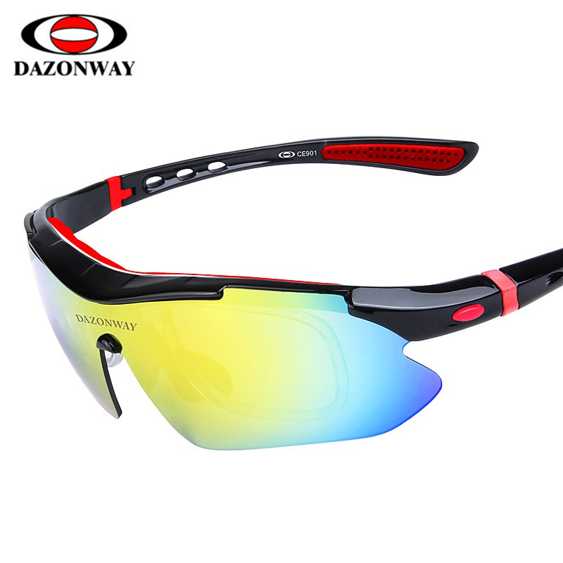 DAZONWAY CE901 Cycling Eyewear Bicycle Sunglasses Cycling <font><b>Glasses</b></font> MTB Road <font><b>Bike</b></font> Men's <font><b>Glasses</b></font> Hiking Driving Fishing <font><b>5</b></font> <font><b>Lens</b></font> image
