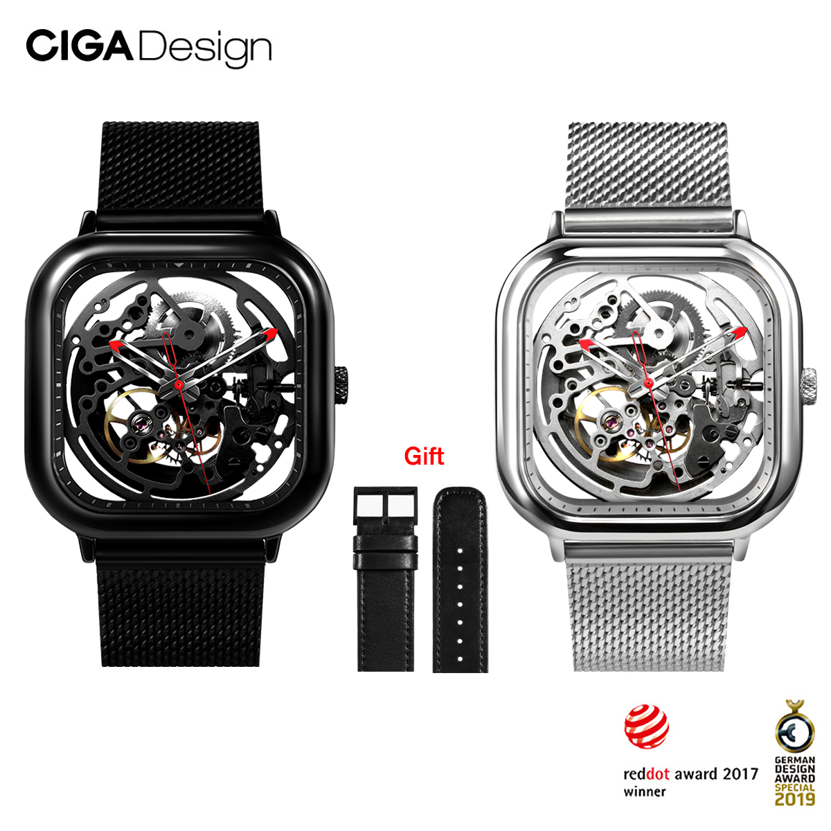 CIGA Design CIGA Watch Automatic Hollowing Mechanical Watch Fashion Watch Male Square Mechanical Watch