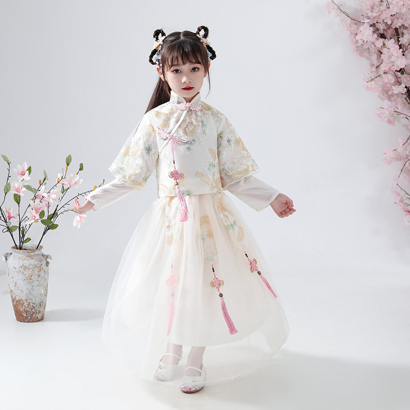 Chinese Traditional Costume Girls Hanfu Dress Qing Dynasty Ancient Fairy Long Sleeve Autumn Winter Tang Suit For Kids DQL2406