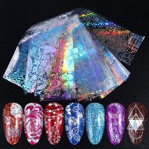 Image 3 - Holográfico unha folha polonês adesivos transferência céu estrelado sliders laser transparente arte do prego decalque manicure projetos JI1040 1