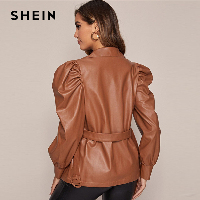 SHEIN Brown Solid PU Leather Casual Jacket With Belt Women Coats Spring Leg-Of-Mutton Sleeve High Street Button Front Outwear 2