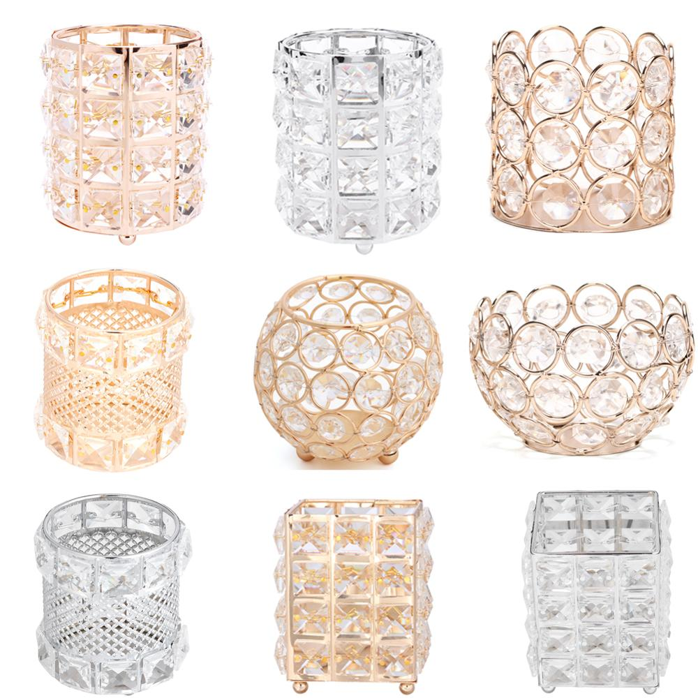 1pcs Glitter Metal Crystal Pencil Pen Holer Brush Storage Tube Desk Stationery Container Eyebrow Bead Crystal Jewelry Organizer
