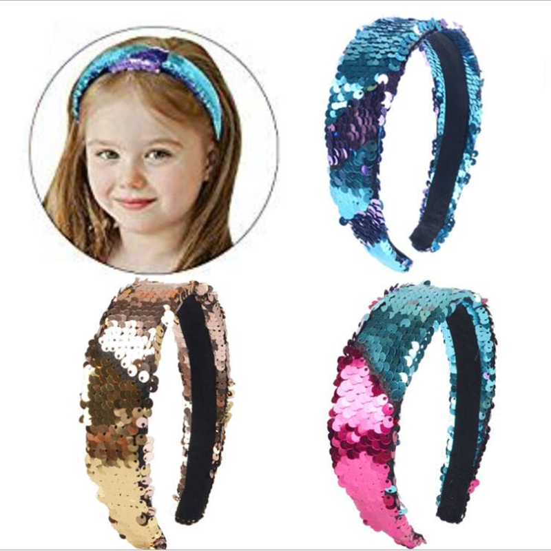 Fashion Double sided Mermaid Sequins Hair Band Ladies Headband Birthday Party Banquet Headband Hair Accessories in Women 39 s Hair Accessories from Apparel Accessories