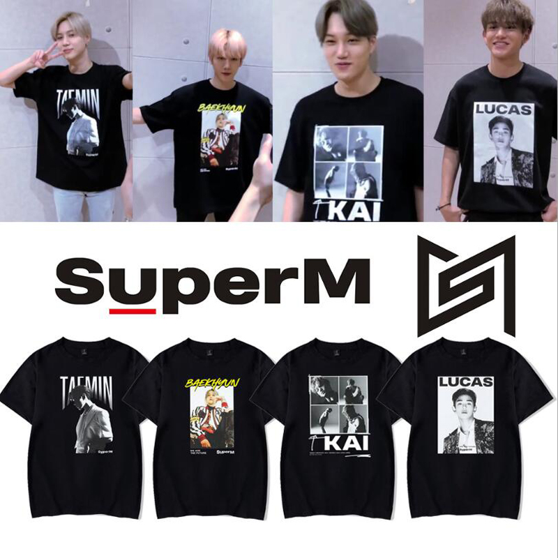 KPOP Super M T Shirt SuperM Album BAEKHYUN KAI MARK TAEMIN TAEYONG Korean Streetwear Hip Hop Short Sleeve Cotton T-Shirt Women