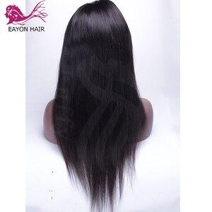 Image 3 - EAYON önceden koparıp tam sırma insan saçı peruk bebek saç ipeksi düz perulu Remy saç peruk ağartılmış knot 130 yoğunluk