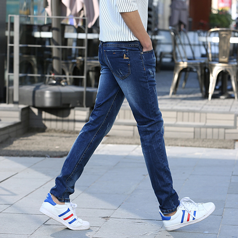Summer Men's Jeans Elasticity Skinny Slim Fit MEN'S Jeans Youth Trousers Does Not Fade Cowboy Men's Trousers