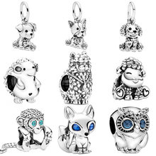 Bonito 925 prata esterlina animal encantos cão coruja raposa tartaruga encantos contas caber original pan pulseiras feminino jóias diy 45 tipos
