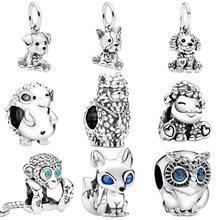 Cute 925 Sterling Silver Animal Charms Dog Owl Fox Turtle Charms Beads fit Original Pandora Bracelets Women DIY Jewelry 45 types