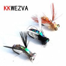 KKWEZVA 20Pcs Trout Nymph Fly Fishing Lure Wet Flies Nymphs Hook Natural Color Ice Lures Artificial Insect Bait