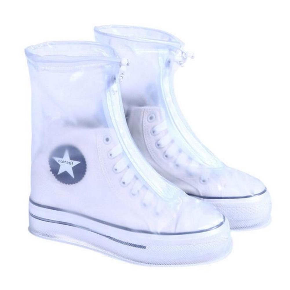 High Quality Men Women's Rain Waterproof Boots Cover Heels Boots Reusable Shoes Covers Thicker Non-slip Platform Rain Boots