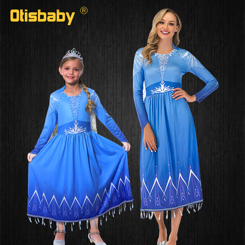 Halloween Mother Kids Matching Family Outfits Women Audult Girls Elsa Dress Elsa Costume Cosplay Mother and Daughter Clothes