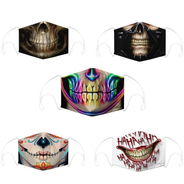 Cotton PM2.5 Mouth Mask Filter Mask 3D Print Funny Cosplayer Big Mouth Series Skull Face Mask Washable Reusable  Protective Mask