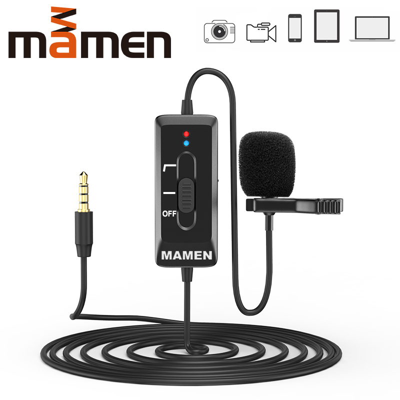 MAMEN 8m Cable Clip-On Lavalier Microphone 3 5mm Plug Condenser Mic Vlog Recording Microfono For DSLR Camera Phone PC Tablet