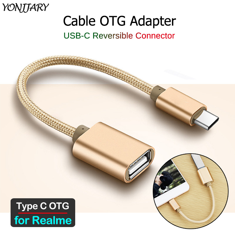 USB-C OTG Adapter Cable For Realme 6i 6 5 Pro X50 Pro 5G Q X XT X2 Pro Type C USB OTG Cable Connector Phone Data Converter