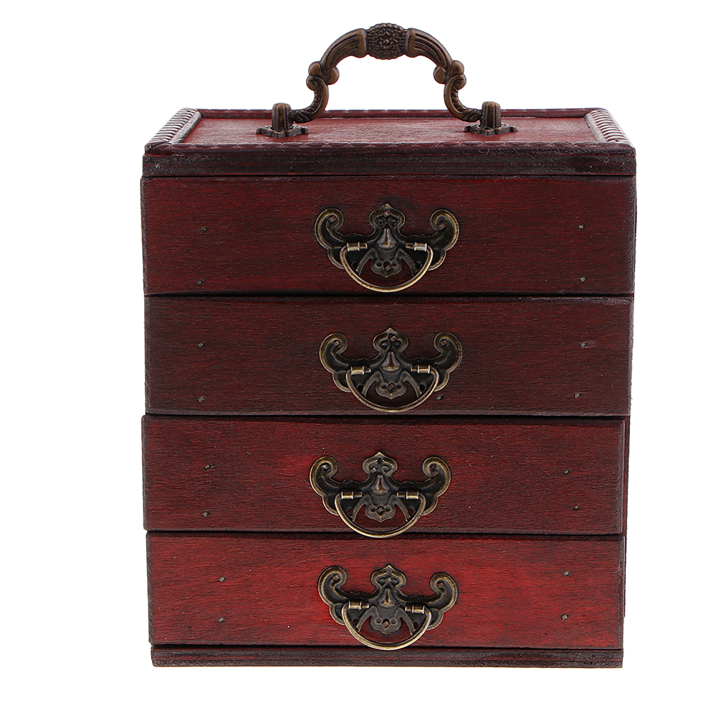 Decorative Trinket Jewelry Storage Box Vintage Wood Chest Treasure Case Box 15x10x16 5cm