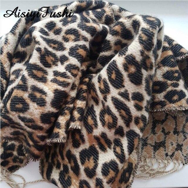 Brown Poncho Leopard Femme Winter Blanket Scarf Warm Soft Cashmere Thicken Long Ladies Tassel Scarves Women 2020 Poncho Foulard 3