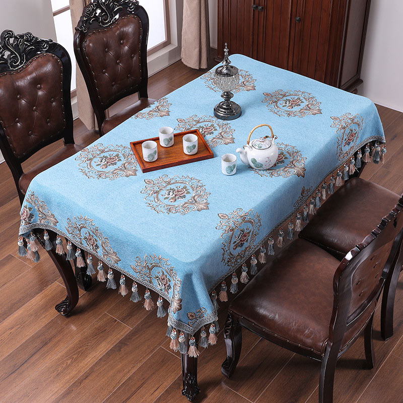 2019 New European Luxury Design Jacquard Weave Blue Square Round Tablecloth Coffee Table Covers Home Decorative Table Slipcovers in Tablecloths from Home Garden