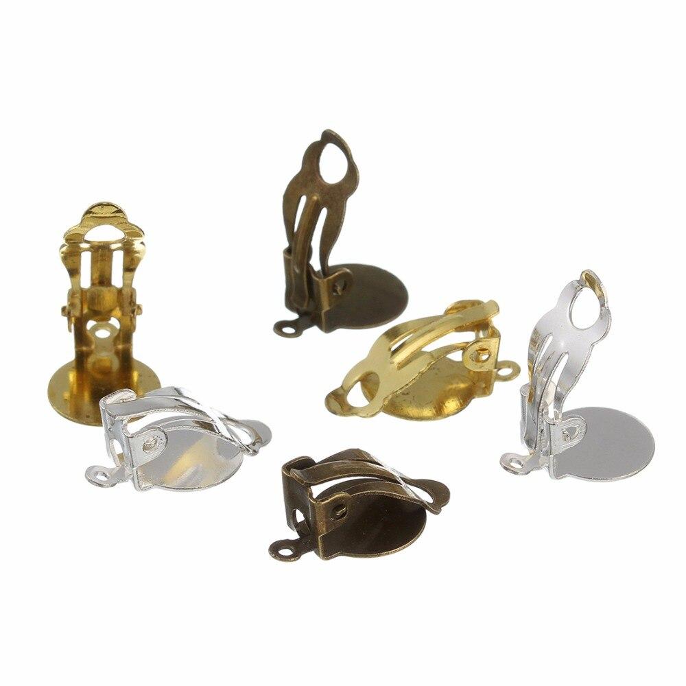 30 adet/grup 10mm altın gümüş renk küpe klipler hiçbir deldi fotoğraf cam Cabochon ayarları Cameo bankası takı yapımı için bulguları