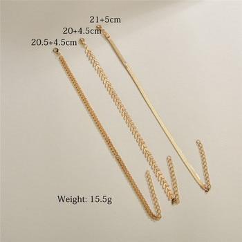 LETAPI 3pcs/set Gold Color Simple Chain Anklets For Women Beach Foot Jewelry Leg Chain Ankle Bracelets Women Accessories 3