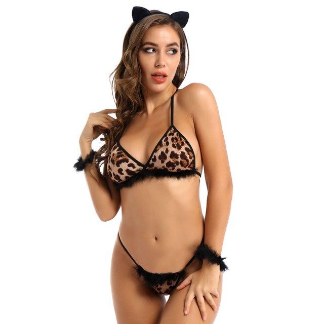 Sexy Halloween Leopard Cat Costume With Ear Headband #C1530 2