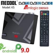 Mecool k5 amlogic s905x3 smart android 9.0 caixa de tv DVB-S2 DVB-T2 DVB-C 2gb ram 16gb rom 2.4g 5g wifi bluetooth 4k hd conjunto caixa superior