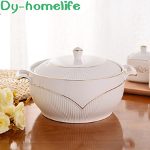 Nordic Phnom Penh Vertical Pattern Round Double Ears with Lid Ceramic Bowl Kitchen Household Bone China Soup Bowl Large Bowl