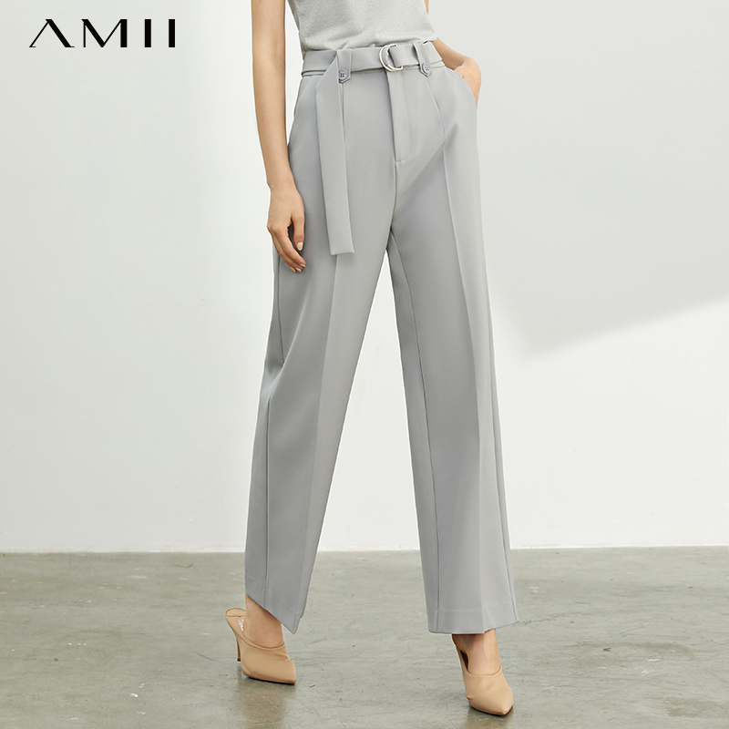 Ami Minimus French Tide Net Red Casual Pants, Women's New Style, High-waist And Wide-leg Waist-belt Pants 11940367