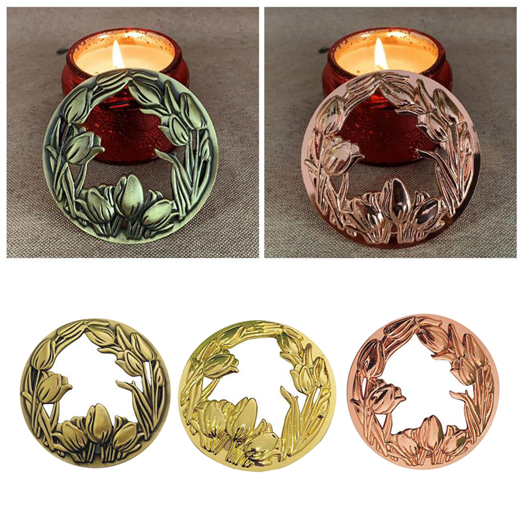 Official Website Jar Candle Toppers Accessories Sleeves Lid Flower Style Rose Golden