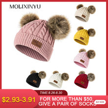 MOLIXINYU Children Winter Hat For Girls Knitted Baby Boys Girls Pom Poms Hat Beanies Thick Baby Hat Infant Toddler(China)