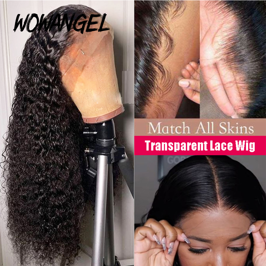 Curly Human Hair Wig Transparent Lace 13x6 Lace Front Human Hair Wigs Pre Plucked Remy Brazilian Deep Curly Wigs For Women