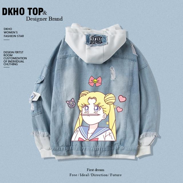 Star same paragraph Sailor hoodies sweatshirt denim jacket new spring and autumn short jacket two-piece suit 3