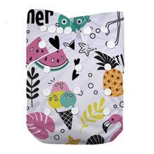 Многоразовый моющийся тканевый подгузник LilBit с принтом для маленьких девочек
